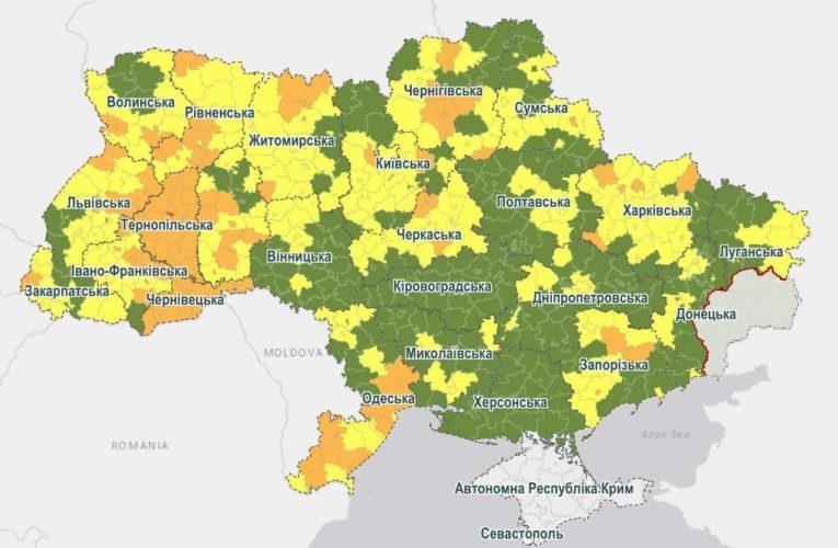 В Украине изменили зоны карантина